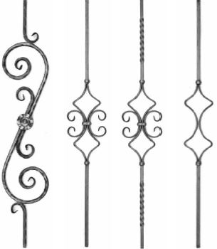 Bars and decorative elements in wrought iron